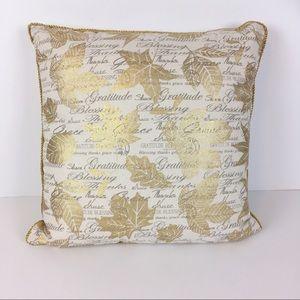 Pier 1 Gold Gilded Leaves Blessings Throw Pillow